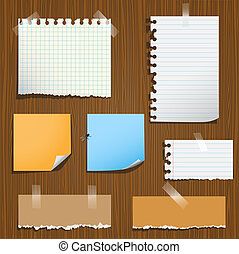 Notes paper on wooden background. Vector set, eps10