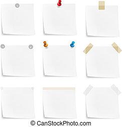 notes, papier, autocollants