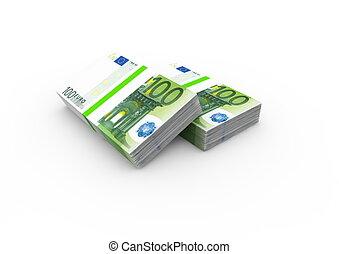 notes, paquets, deux, 100, banque, euro