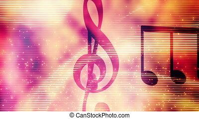 notes, particules, faire boucle, musique, fond, résumé