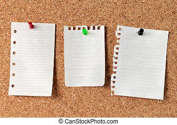 notes, planche, bouchon