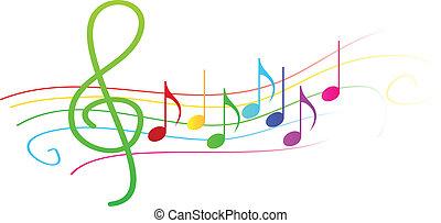 notes, portée, musical, coloré