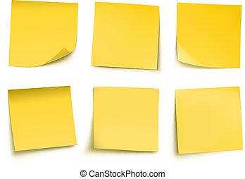notes, poste, jaune, il