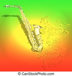 notes, saxophone, musical, fond, vagues