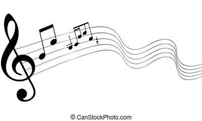 notes, seamless, fond, musique, écoulement, blanc, animation