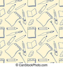 Notes seamless pattern. Cartoon line background. Blue on the...