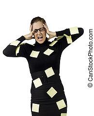 notes, secrétaire, frustré, collant
