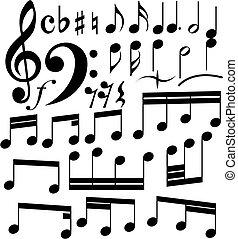 notes set - Full set of notes symbols on the white...