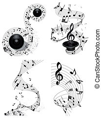 notes staff - Musical note staff set. Four images. Vector...