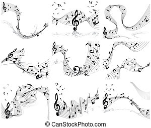 notes staff - Vector musical note staff background set for ...
