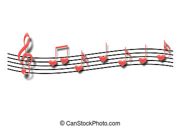 Notes - Musical notes in the form of heart on a white...