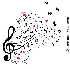 notes swirls - musical notes with hearts