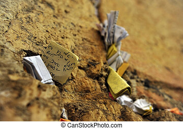 Notes to God in the wailing wall, Jerusalem, Israel - The...