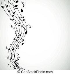 notes, vecteur, musique