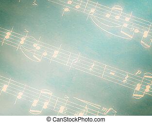notes, vert, musical