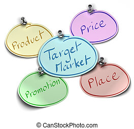 notes where it's written target market, product, price, place and promotion fixed over a white background with pushpin