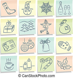 Notes with Christmas pictures. Vector illustration.