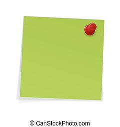 Notes with pin - green sticky notes with pin
