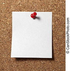 notes with push pins on cork board office business - note...