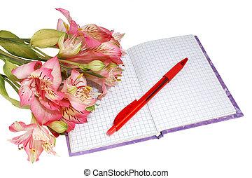notesbog, hos, en, pen og, blomster