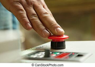 notfall, anschieben, halt, button., hand, mann