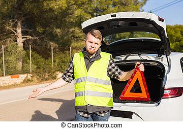 notfall, auto, dreieckig, zeichen, mann, unruhe, erhält, rotes , er