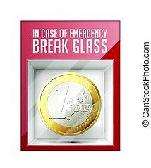 notfall, brechen, glas, -, euromünze, -, geschäftskonzept