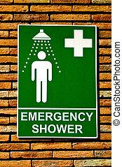 notfall, wand, zeichen, dusche, sicherheit, hintergrund