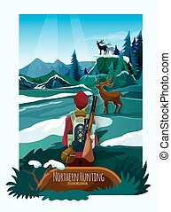 Nothern Landscape Nature Hunting Poster Print