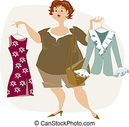 Pretty plus size lady is looking for dress