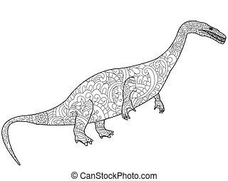 Nothosauru dragon coloring vector for adults