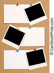 Notice board - Cork notice or bulletin board with several...