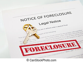 Notice of Foreclosure document and house key