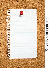 noticeboard., attaccato, sughero, quaderno, pagina bianco