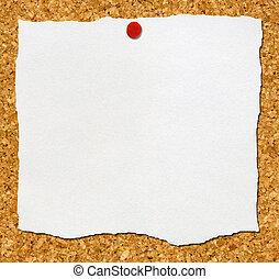 noticeboard., rasgado, unido, corcho, papel, blanco