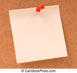 Noticeboard - Note paper with push pins on noticeboard