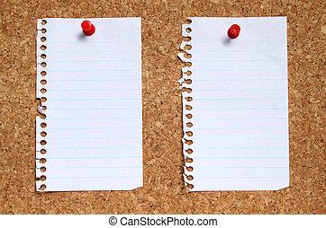 noticeboard., två, anteckningsbok, kork, fastklämd, papper, tom, sidor