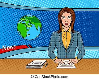 noticiarista, lê, notícia, ligado, tv, arte pnf, vetorial
