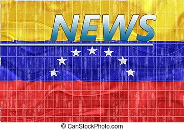 noticias, bandera, ondulado, venezuela