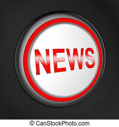 noticias, botón, medios, global, titulares, 3d, ilustración
