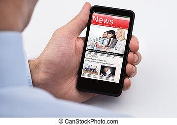 noticias, businessperson, lectura, en línea