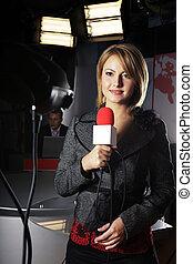 noticias, cámara de televisión, vídeo, reportero