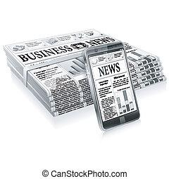 noticias, concepto, -, digital