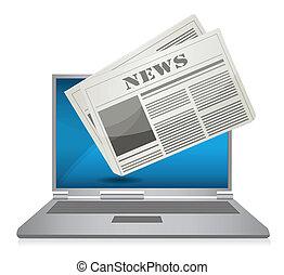 noticias, concepto, en línea