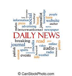 noticias, concepto, palabra, diario, nube