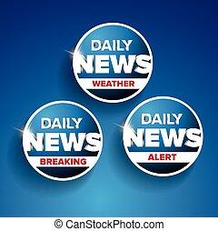 noticias diarias, conjunto, -, tiempo, rotura, alarma