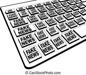 noticias, falsificación, teclado