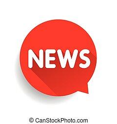 noticias, icono, etiqueta, vector