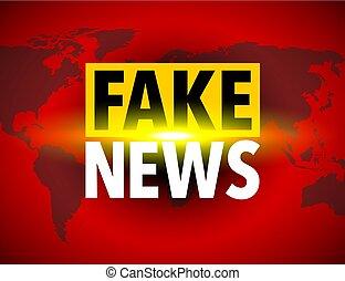 noticias, icono, mundo, falsificación