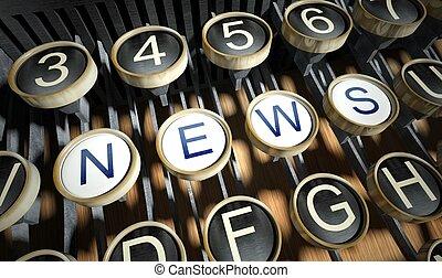 noticias, máquina de escribir, botones, vendimia